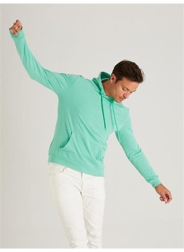 Dufy Kapüşonlu Kanguru Ceplı Erkek Sweatshirt - Slim Fit Yeşil